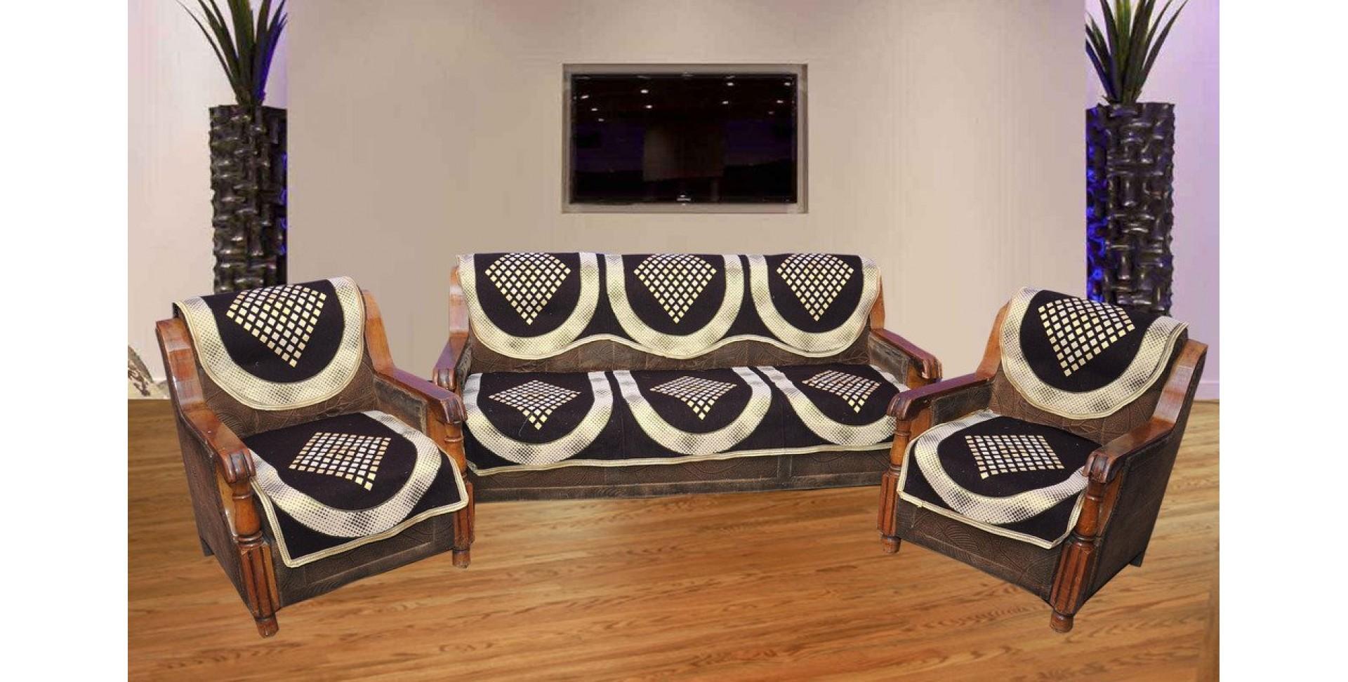 Vivek Homesaaz 5 Seater Poly Cotton Set of 10 Sofa Cover Set