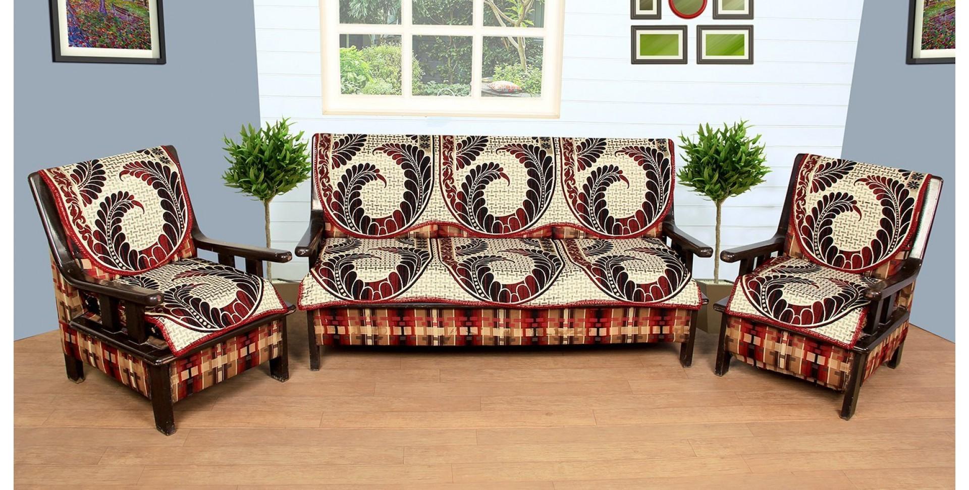 Sofa Cover By Vivek Homesaaz Multi Cotton 10 Peace